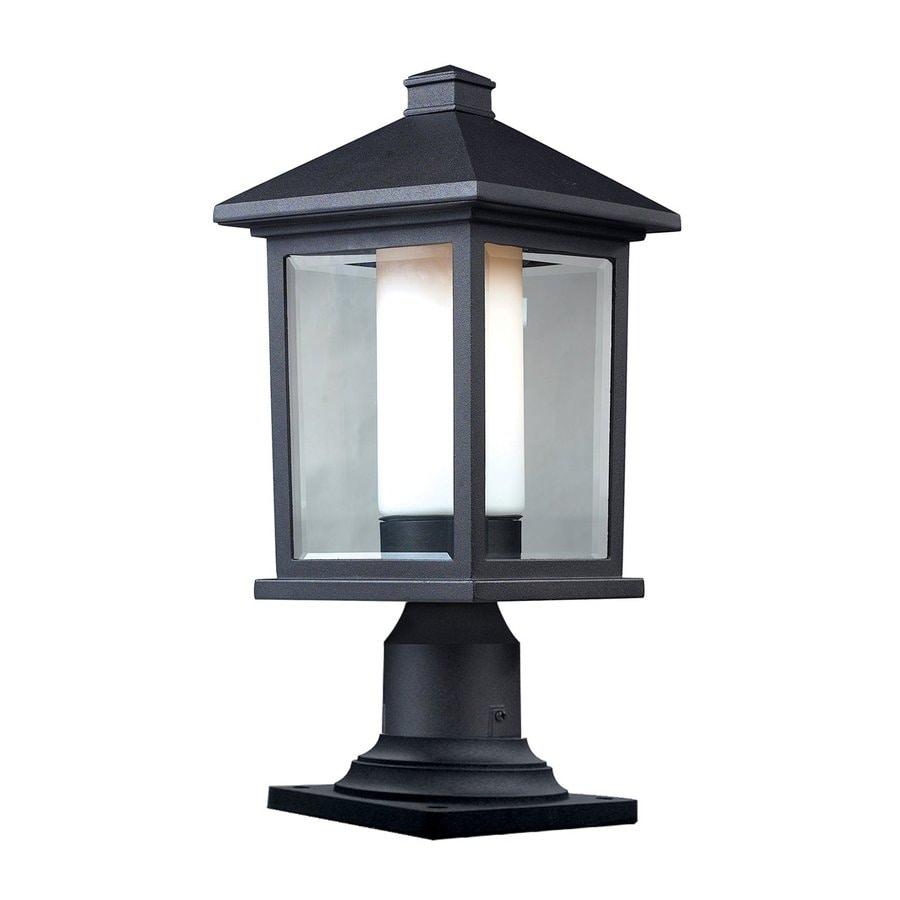 Z-Lite Mesa 15.75-in H Black/Clear Beveled/Matte Opal Post Light