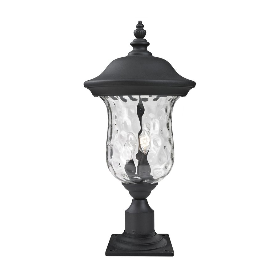 Z-Lite Armstrong 21.25-in H Black/Clear Water Glass Pier-Mounted Light