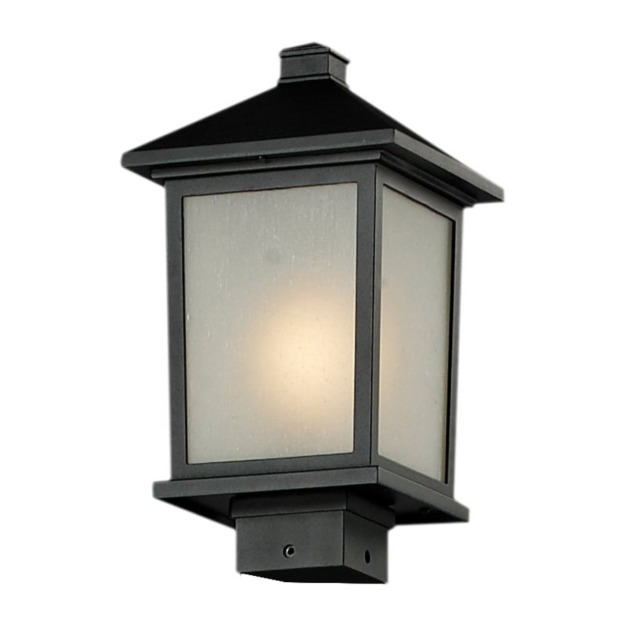 Z-Lite Holbrook 14.25-in H Black/White Seedy Post Light