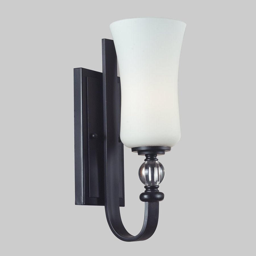 Z-Lite Harmony 4.5-in W 1-Light Matte Black/White Watermark Arm Hardwired Wall Sconce