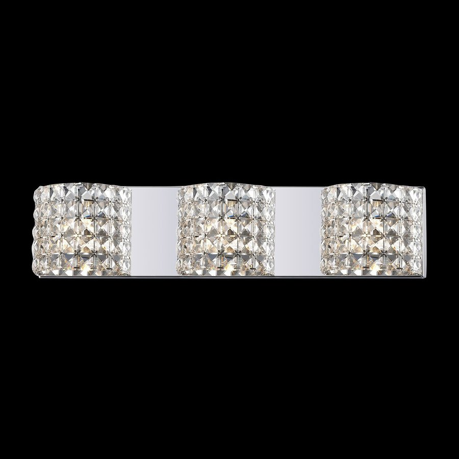 Vanity Light Bar Crystal : Shop Z-Lite Panache 3-Light Chrome Square Vanity Light Bar at Lowes.com