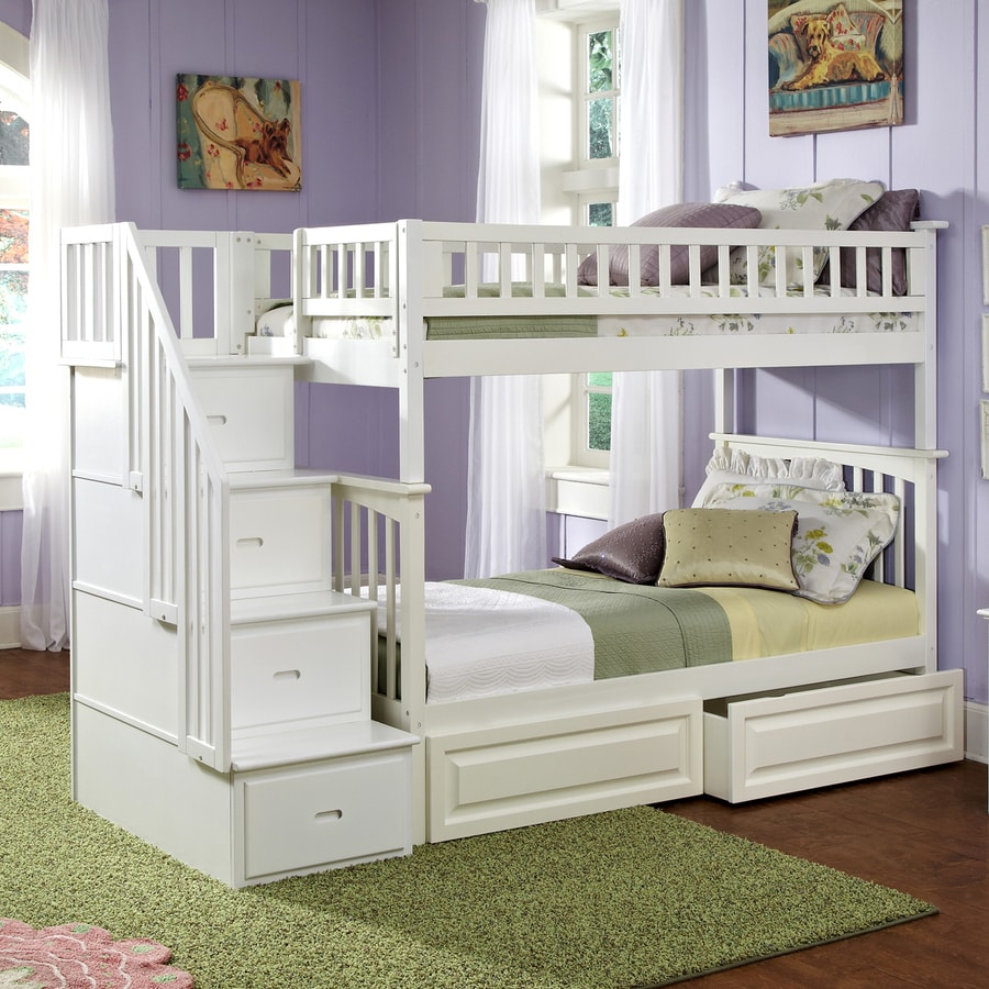 Twin bunk beds white - Atlantic Furniture Columbia White Twin Over Twin Bunk Bed