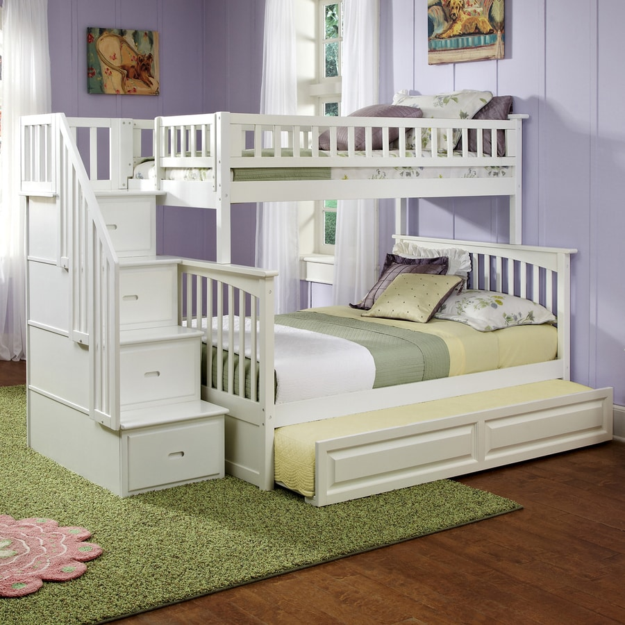 Atlantic Furniture Columbia White Twin Over Full Bunk Bed At Lowes Com