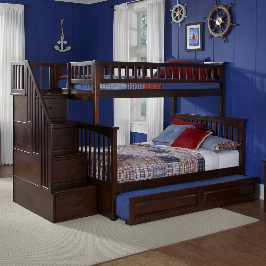 atlantic furniture columbia antique walnut twin over full bunk bed