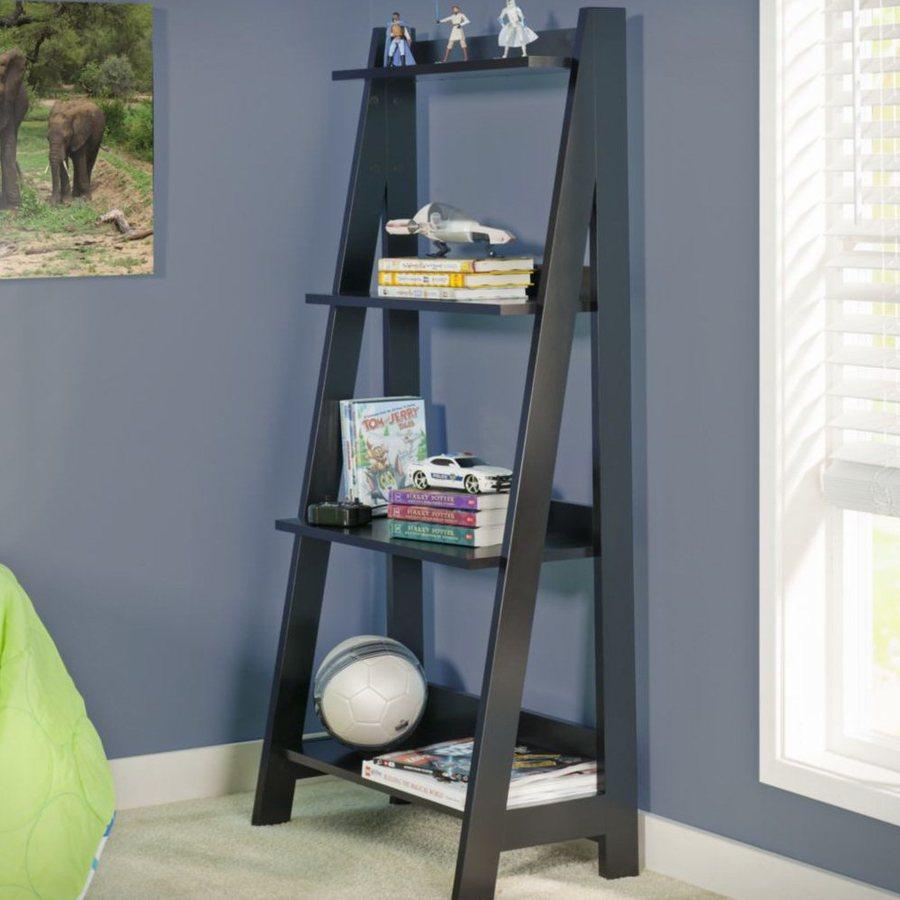 Bush Furniture Alamosa Classic Black 25-in W x 52.25-in H x 12.5-in D 4-Shelf Bookcase