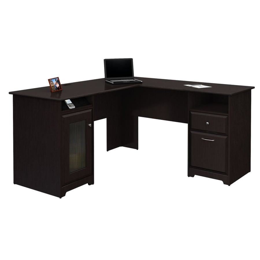 side view office set. Bush Furniture Cabot Transitional Espresso Oak L-Shaped Desk Side View Office Set