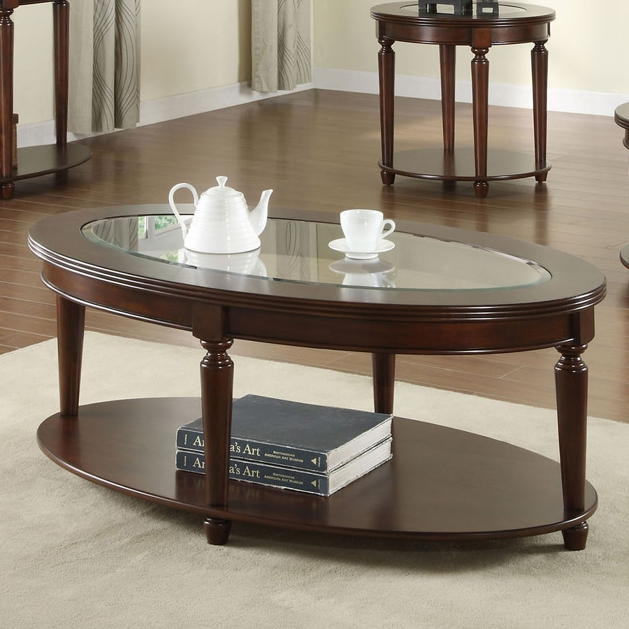Furniture of America Granvia Dark Cherry Oval Coffee Table