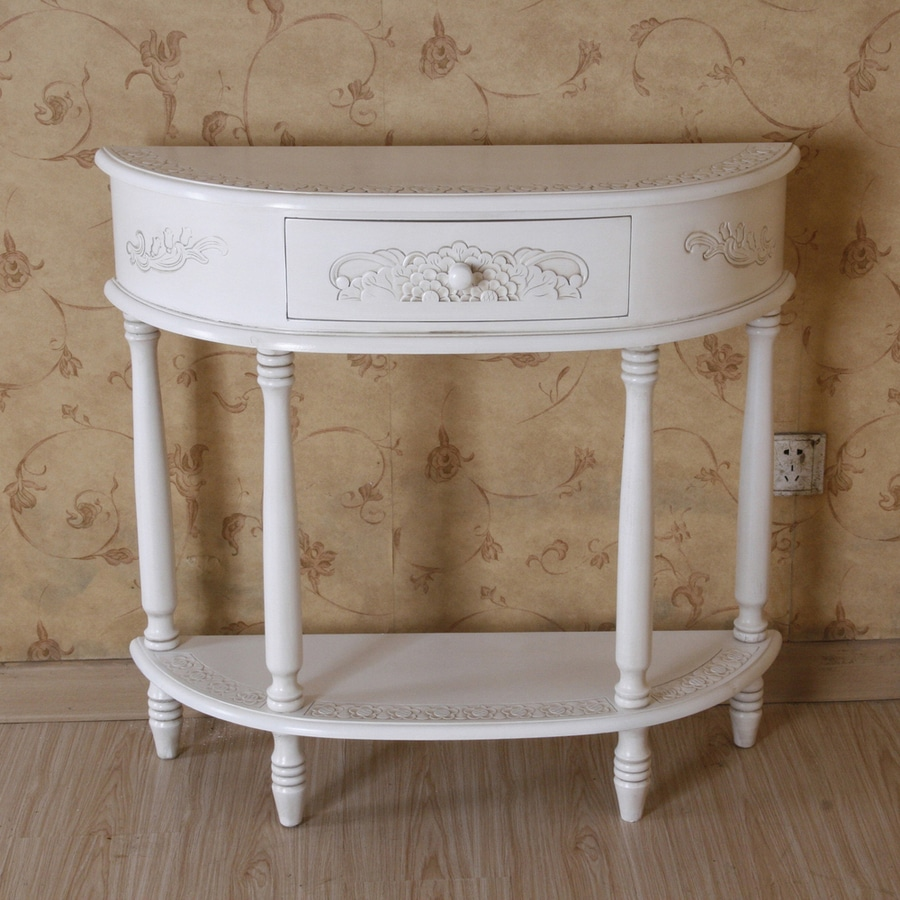 International caravan windsor antique white wood vintage console table