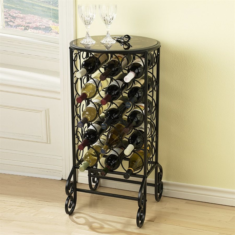 Boston Loft Furnishings Florence 15 Bottle Black Freestanding Floor Wine Rack