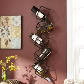 boston loft furnishings marco 5bottle brushed metal wallmount wine rack