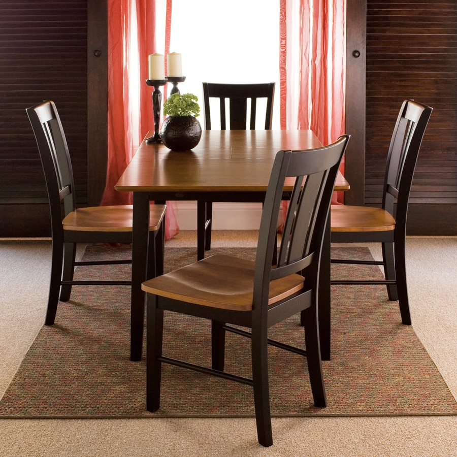 International Concepts Black/Cherry 5 Piece Dining Set With Dining Table