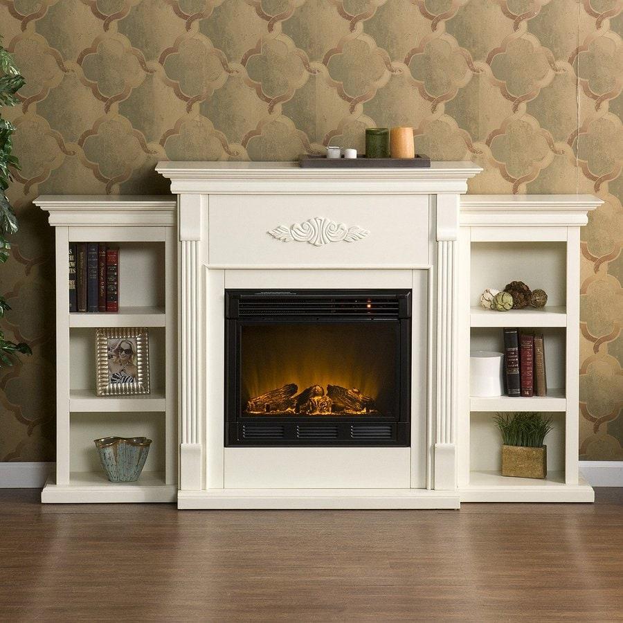 shop boston loft furnishings 70 in w ivory wood electric fireplace