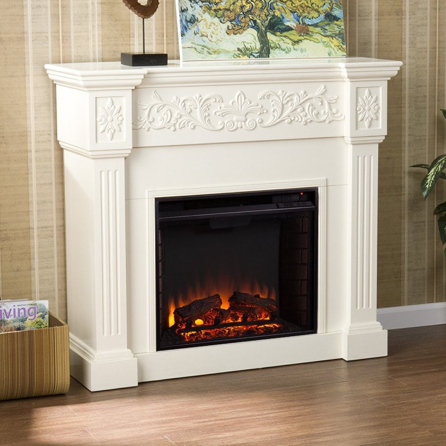 Boston Loft Furnishings 44.5-in W Ivory Wood and Wood Veneer Electric Fireplace with Thermostat and Remote Control Included