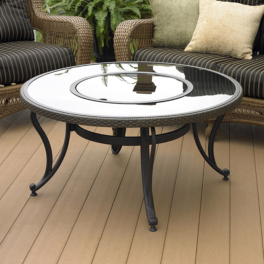 Outdoor Greatroom Company Black Glass Fire Pit Table