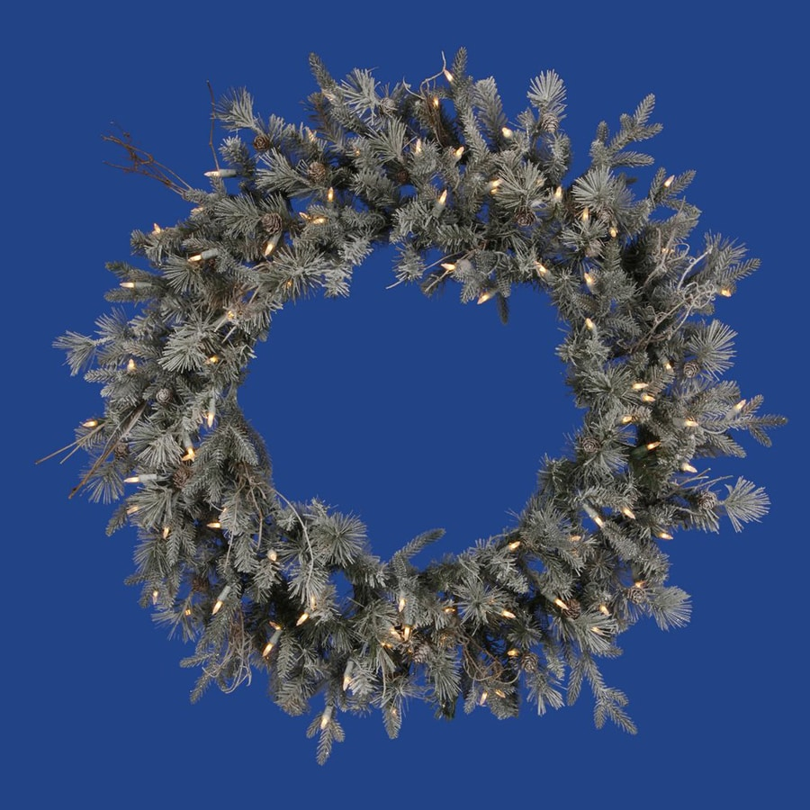 Vickerman 36-in Pre-Lit Whistler Fir Artificial Christmas Wreath with White Incandescent Lights