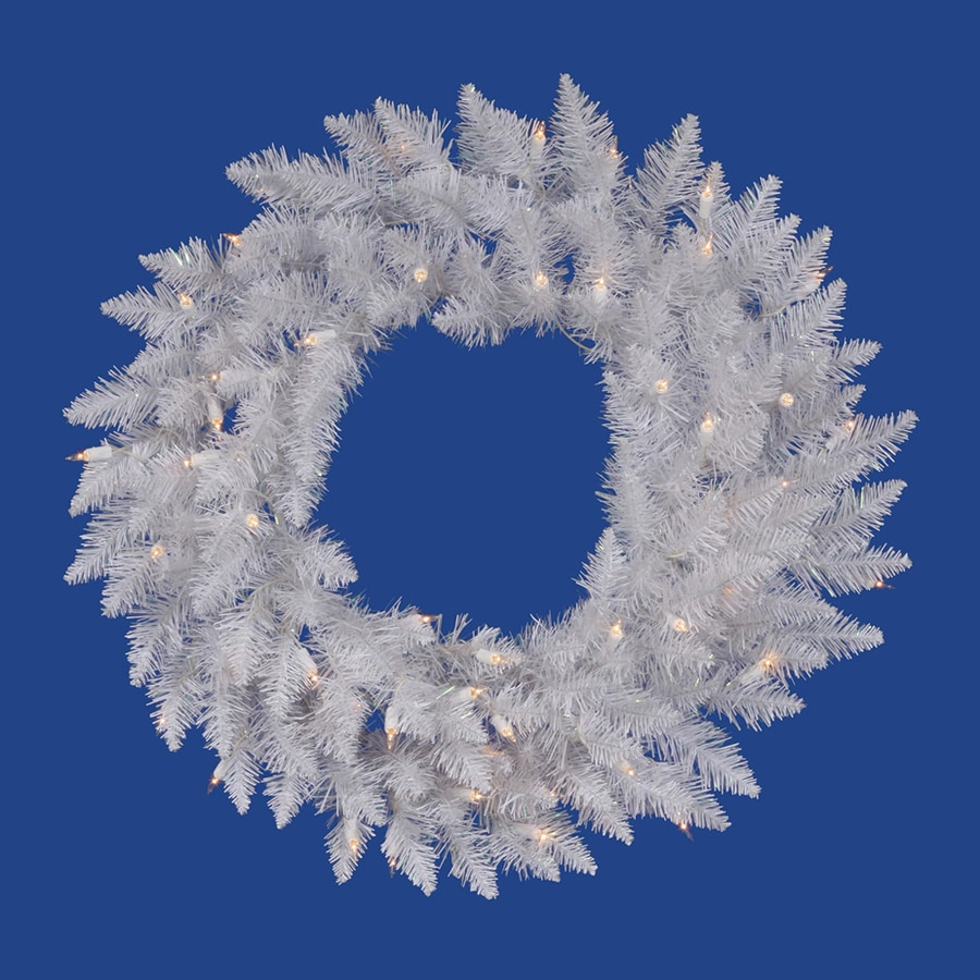 Vickerman 24-in Pre-Lit Plug-In Crystal White Spruce Artificial Christmas Wreath with White Clear Incandescent Lights