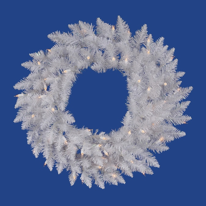 Vickerman 24 In Pre Lit Crystal White Spruce Artificial Christmas Wreath With White Clear Incandescent Lights In The Artificial Christmas Wreaths Department At Lowes Com