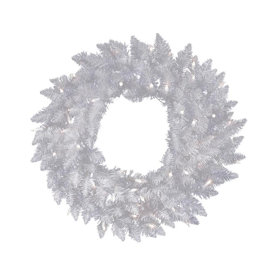 Vickerman 30 In Pre Lit Crystal White Spruce Artificial Christmas Wreath With White Clear Incandescent Lights In The Artificial Christmas Wreaths Department At Lowes Com