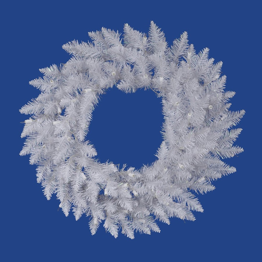 Vickerman 36-in Un-Lit Indoor/Outdoor Crystal White Spruce Artificial Christmas Wreath