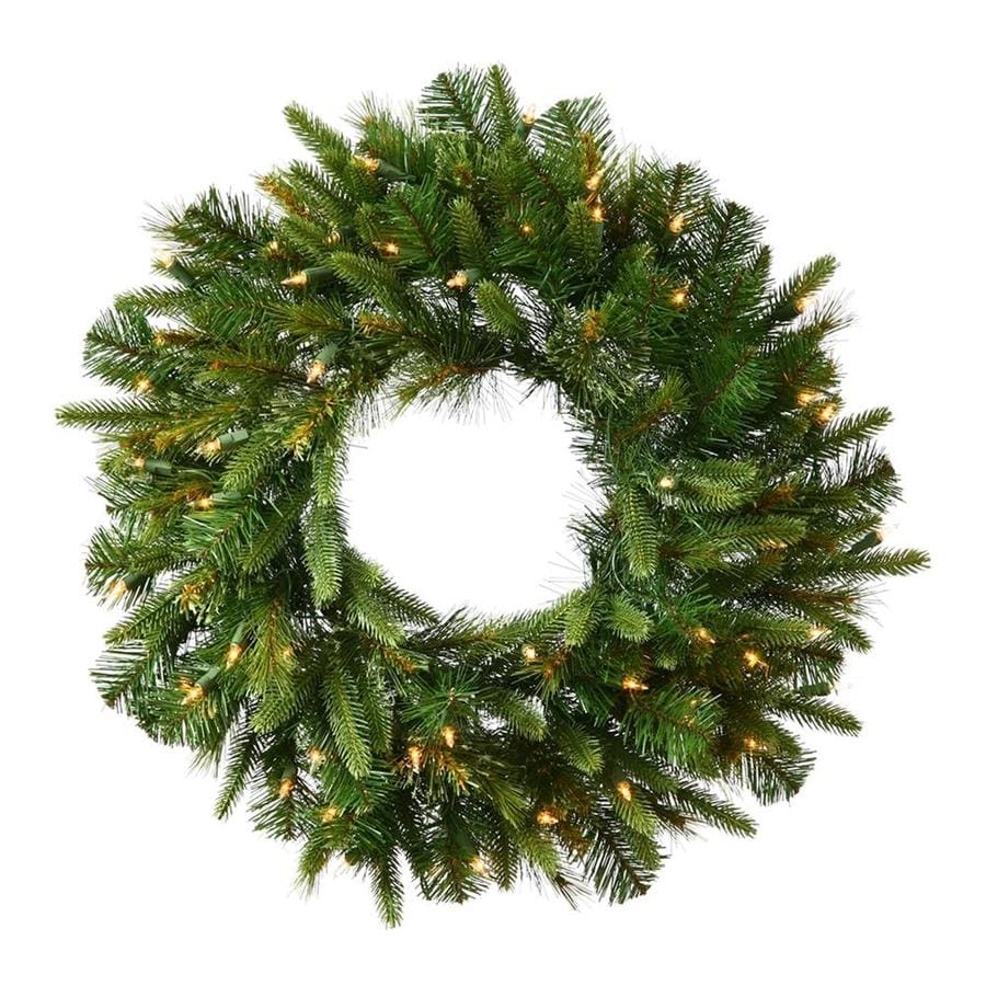 Vickerman Pre-Lit 48-in LED Cashmere Pine Artificial Christmas Wreath with 100-Count LED Lights