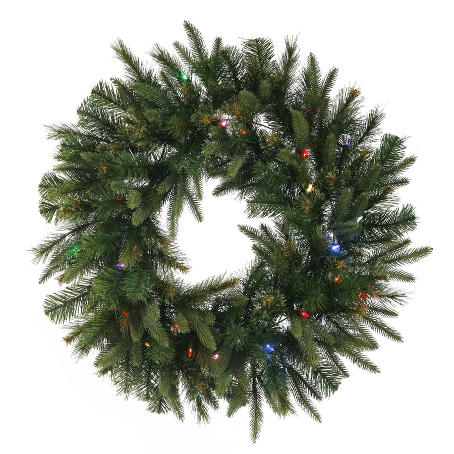 Vickerman 30-in Pre-Lit Plug-In Green Pine Artificial Christmas Wreath with Multicolor LED Lights