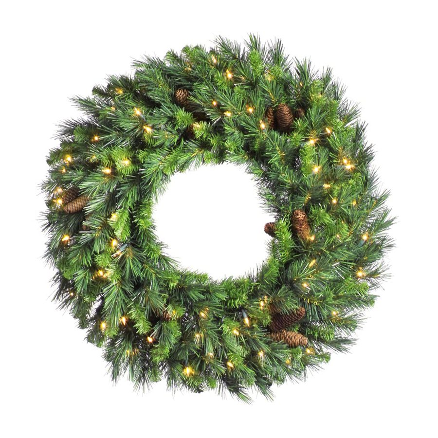 Vickerman 24-in Pre-Lit Plug-In Green Pine Artificial Christmas Wreath with White Clear Incandescent Lights