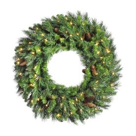vickerman 48 in pre lit green pine artificial christmas wreath with white clear incandescent - Lowes Christmas Wreaths