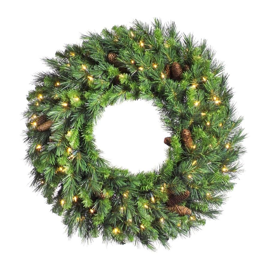 Vickerman Pre-Lit 84-in Cheyenne Pine Artificial Christmas Wreath with 400-Count Incandescent Lights