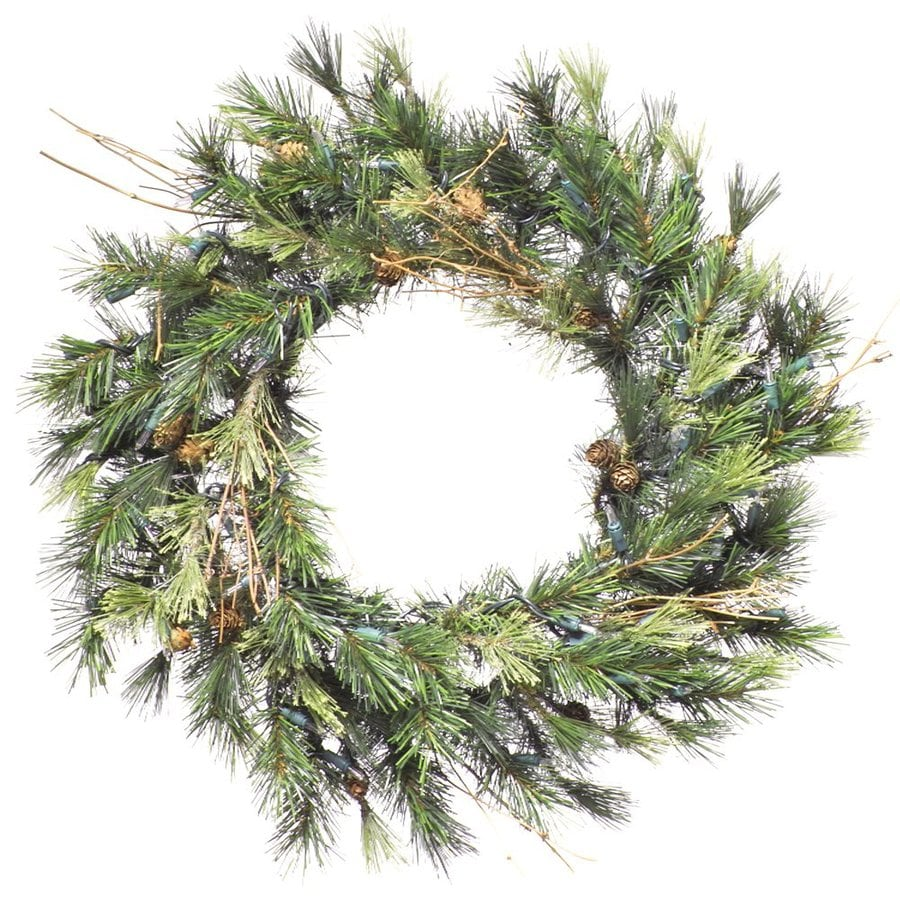 Vickerman 16-in Pre-lit Indoor Electrical Outlet Green Pine Artificial Christmas Wreath with White Clear Incandescent Lights
