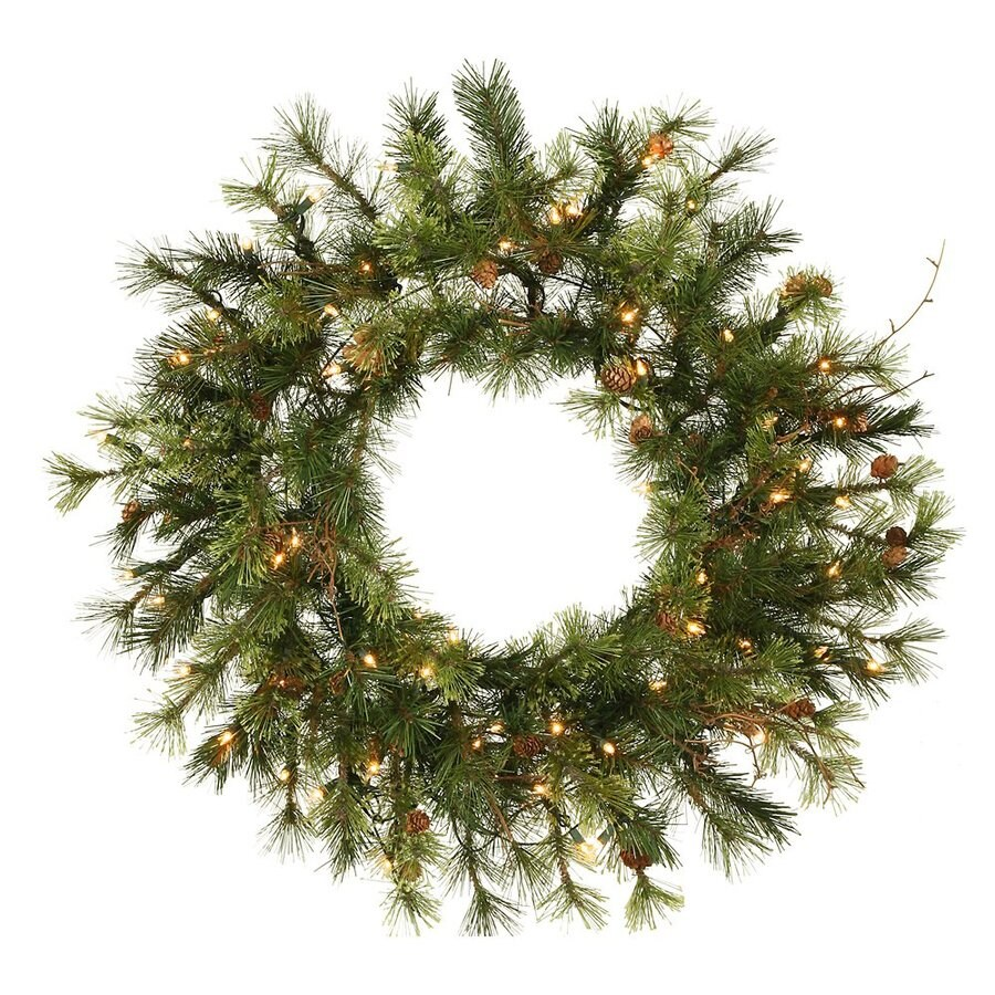 Vickerman 30-in Pre-Lit Pine Artificial Christmas Wreath with White Clear Incandescent Lights
