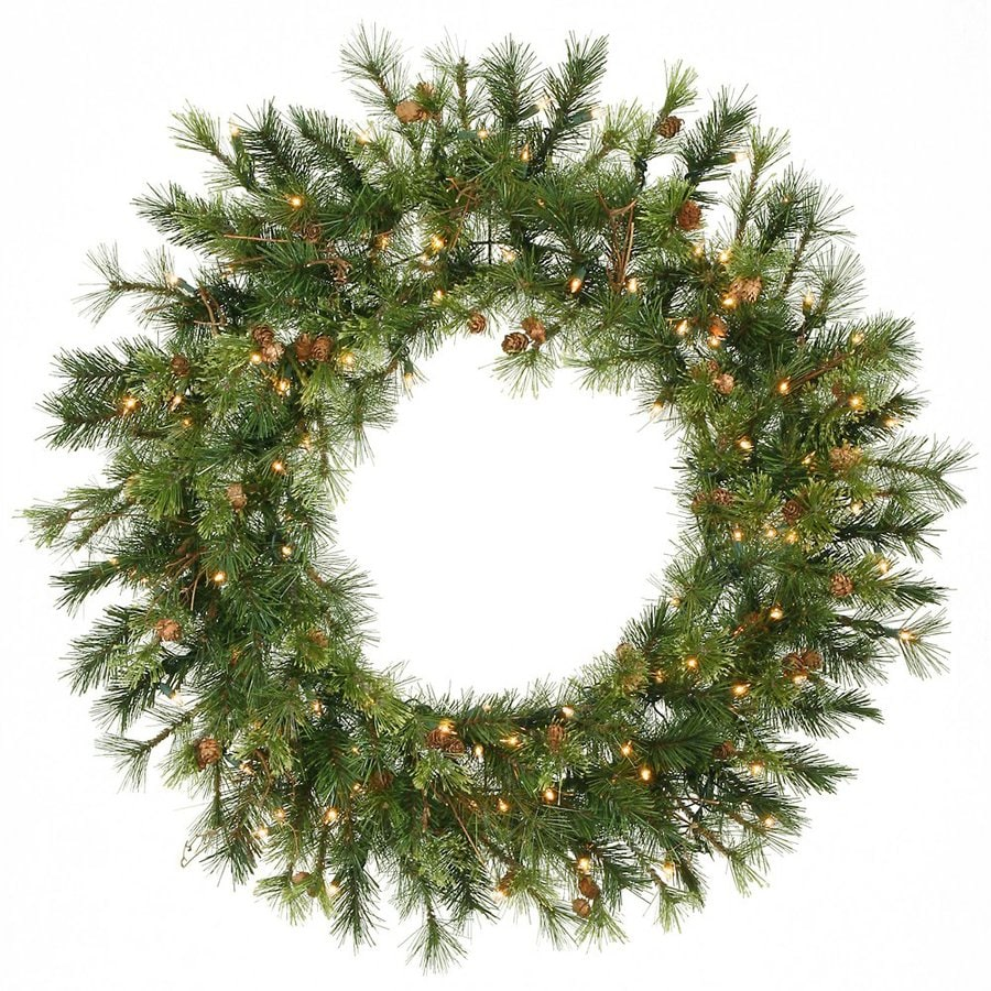 Vickerman 36-in Pre-Lit Green Pine Artificial Christmas Wreath with White Clear Incandescent Lights