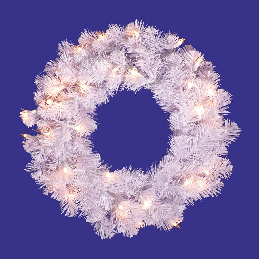 Vickerman 20-in Pre-lit Crystal white Spruce Artificial Christmas Wreath with White Clear Incandescent Lights