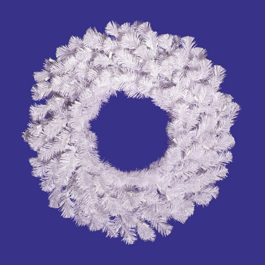 Vickerman 24-in Un-Lit White Spruce Artificial Christmas Wreath