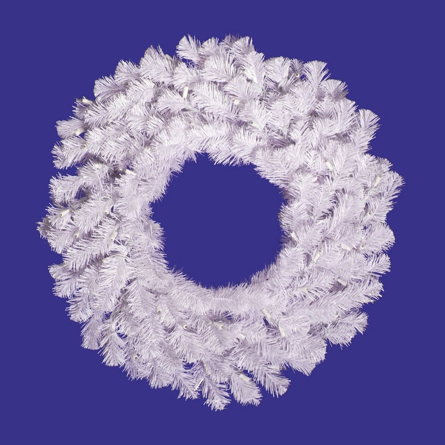 Vickerman 30-in Un-Lit White Spruce Artificial Christmas Wreath