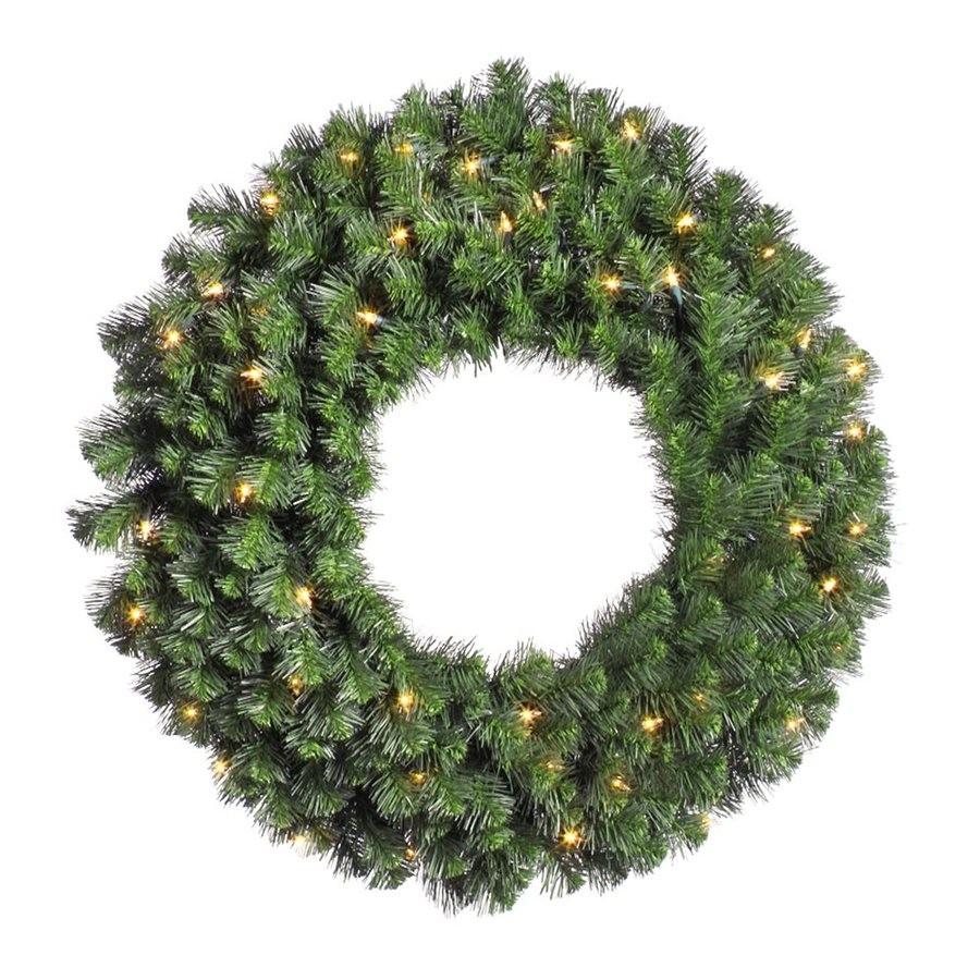 Vickerman 24-in Pre-Lit Plug-In Green Douglas Fir Artificial Christmas Wreath with White Clear Incandescent Lights