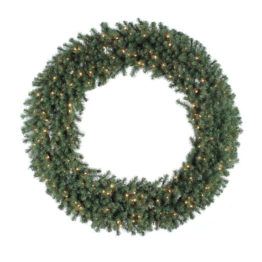 Vickerman 60-in Pre-Lit Plug-In Green Douglas Fir Artificial Christmas Wreath with White Clear Incandescent Lights