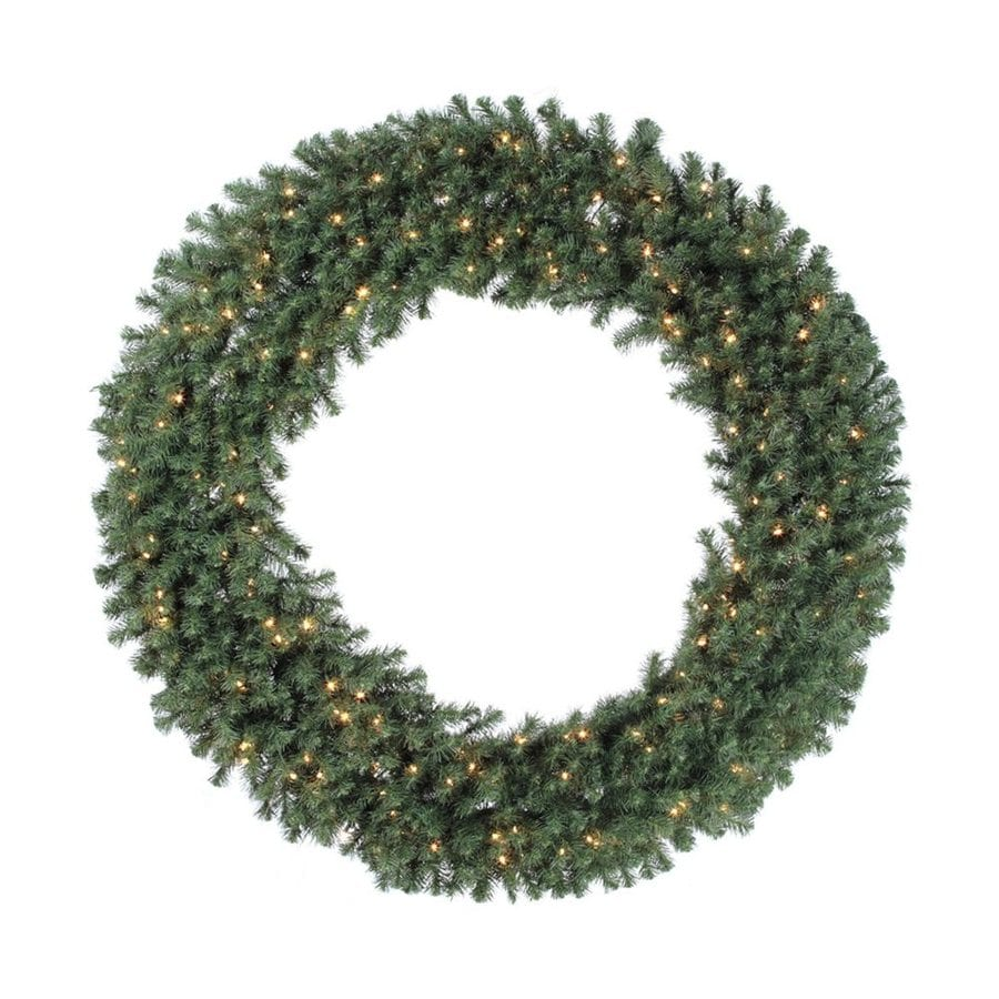 Vickerman 72-in Pre-lit Indoor Electrical Outlet Green Douglas Fir Artificial Christmas Wreath with White Clear Incandescent Lights