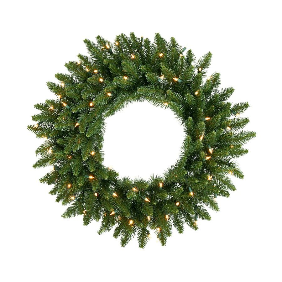 Vickerman 24-in Pre-Lit Plug-In Green Camden Fir Artificial Christmas Wreath with Warm White LED Lights