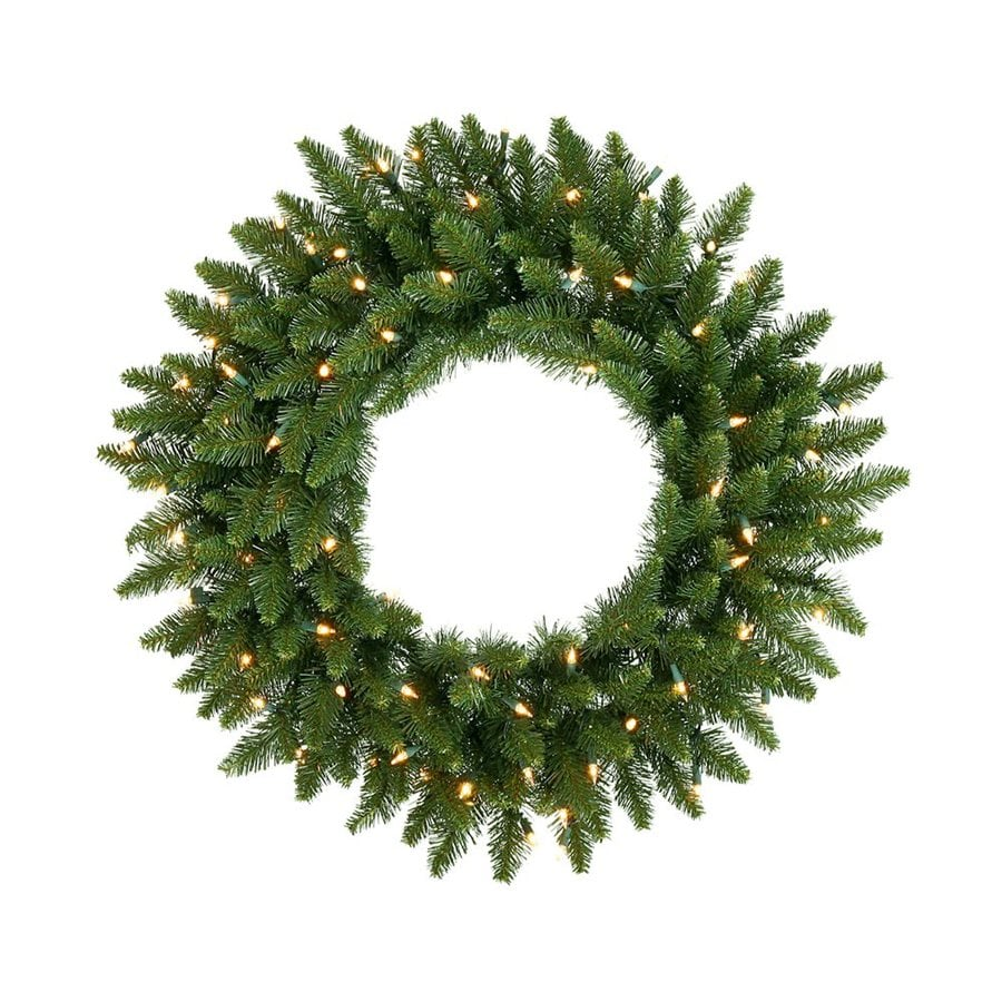 Vickerman 30-in Pre-lit Indoor/Outdoor Green Camden Fir Artificial Christmas Wreath with White Clear Incandescent Lights