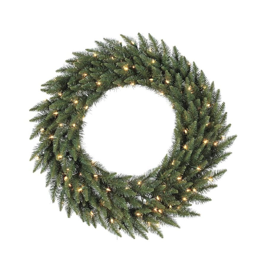 Vickerman 36-in Pre-Lit Indoor/Outdoor Plug-In Green Camden Fir Artificial Christmas Wreath with White Clear Incandescent Lights