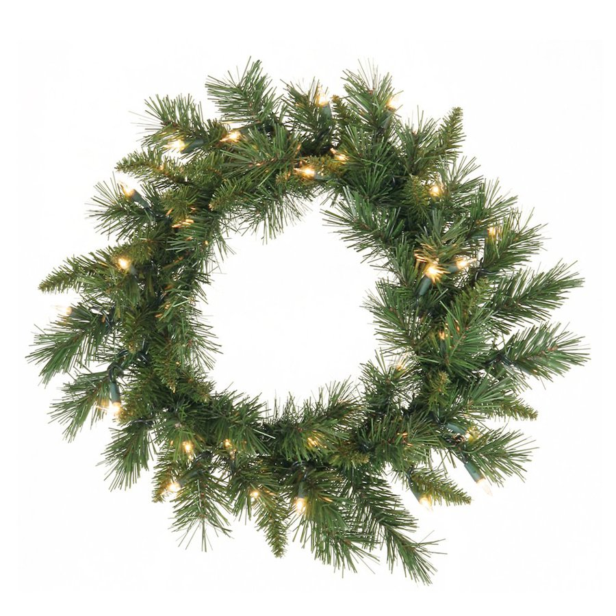 Vickerman 30-in Pre-Lit Imperial Pine Artificial Christmas Wreath with White Clear Incandescent Lights