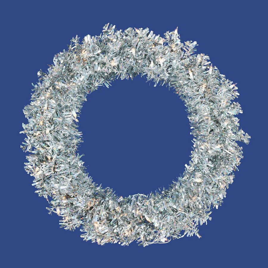 Vickerman 36-in Pre-Lit Plug-In Silver Tinsel Artificial Christmas Wreath with White Clear Incandescent Lights