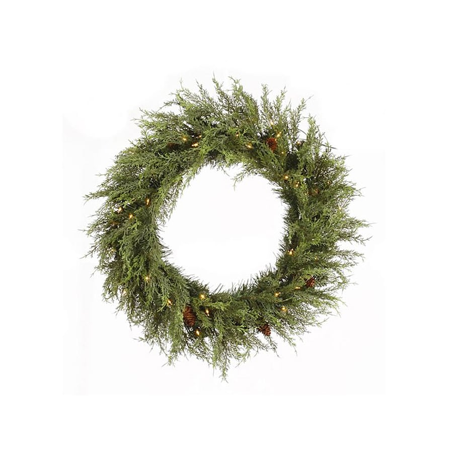 Vickerman 24-in Pre-Lit Pine Artificial Christmas Wreath with White Incandescent Lights