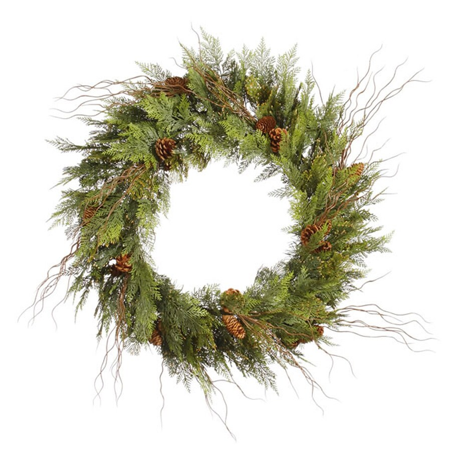 Vickerman 24-in Un-Lit Indoor/Outdoor Green Twig Artificial Christmas Wreath