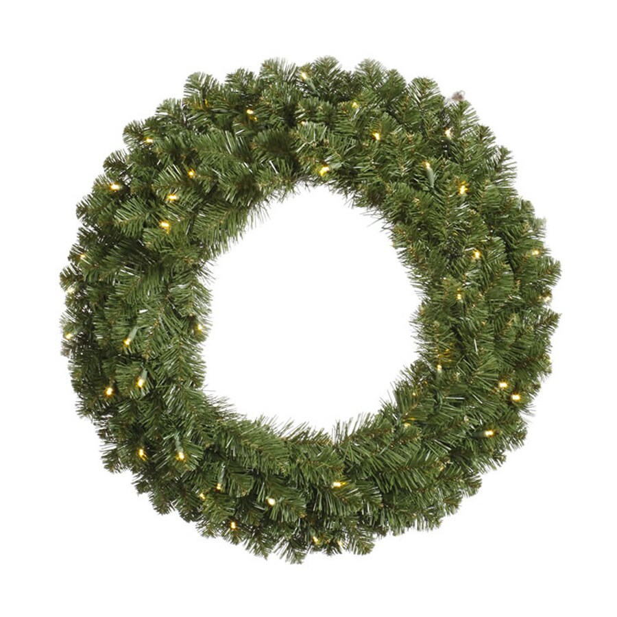 Vickerman 30-in Pre-Lit Plug-In Green Grand Teton Artificial Christmas Wreath with Warm White LED Lights