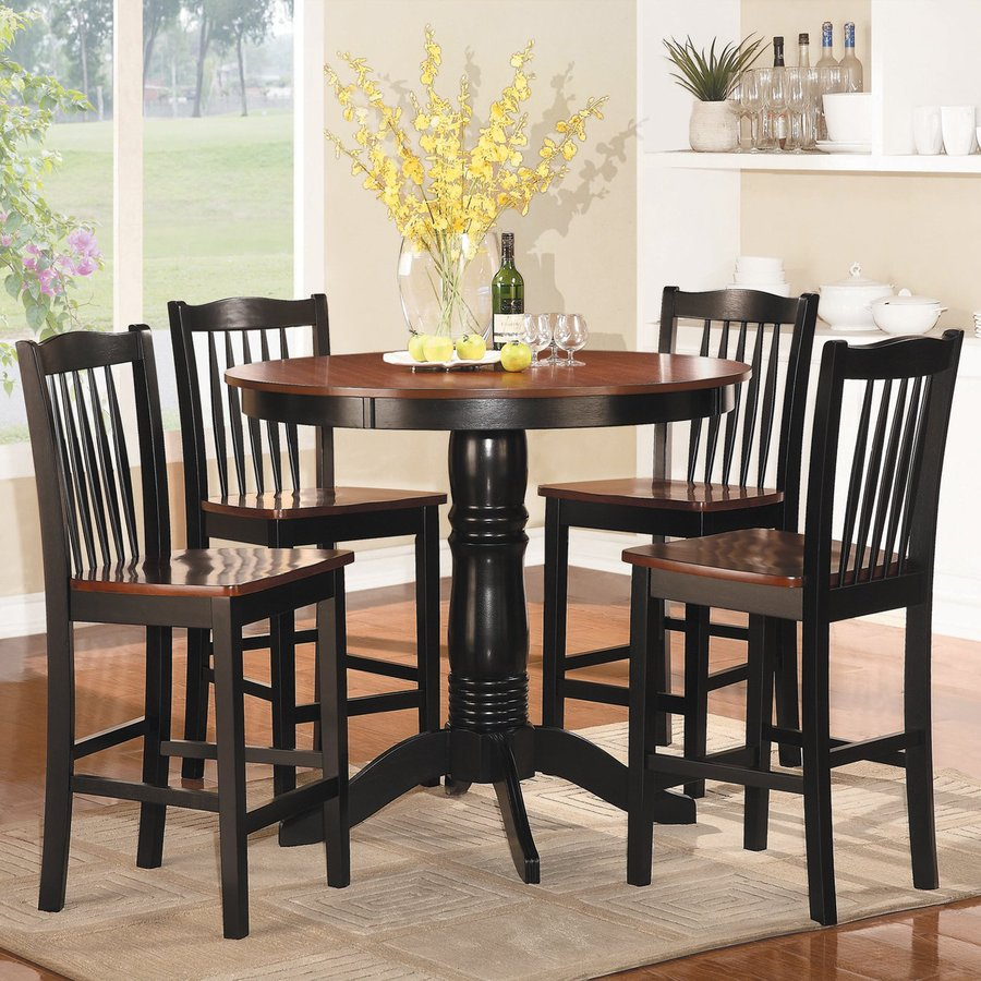 Homelegance Andover Antique Oak/Black 5 Piece Dining Set With Round Counter  Height Table
