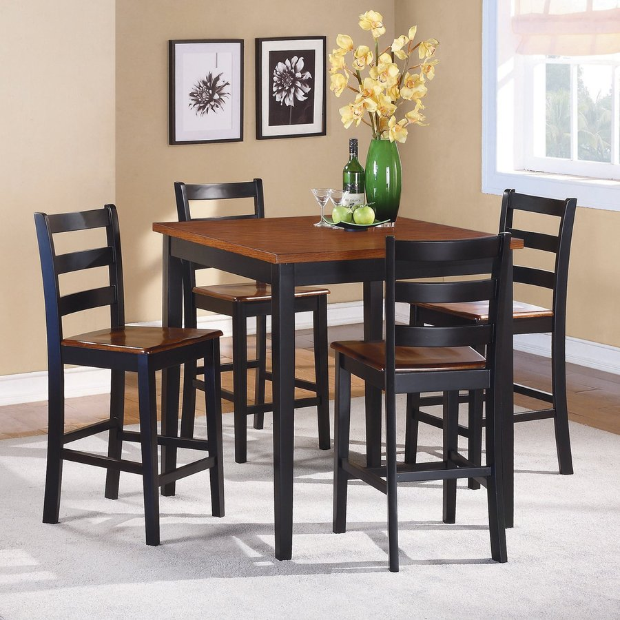Homelegance Lynn Black/Oak Dining Set With Square Counter Table