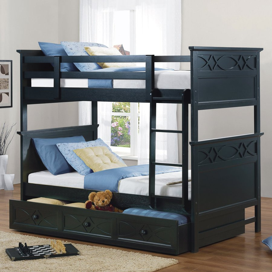 Homelegance Sanibel Black Twin Over Twin Bunk Bed At Lowes Com