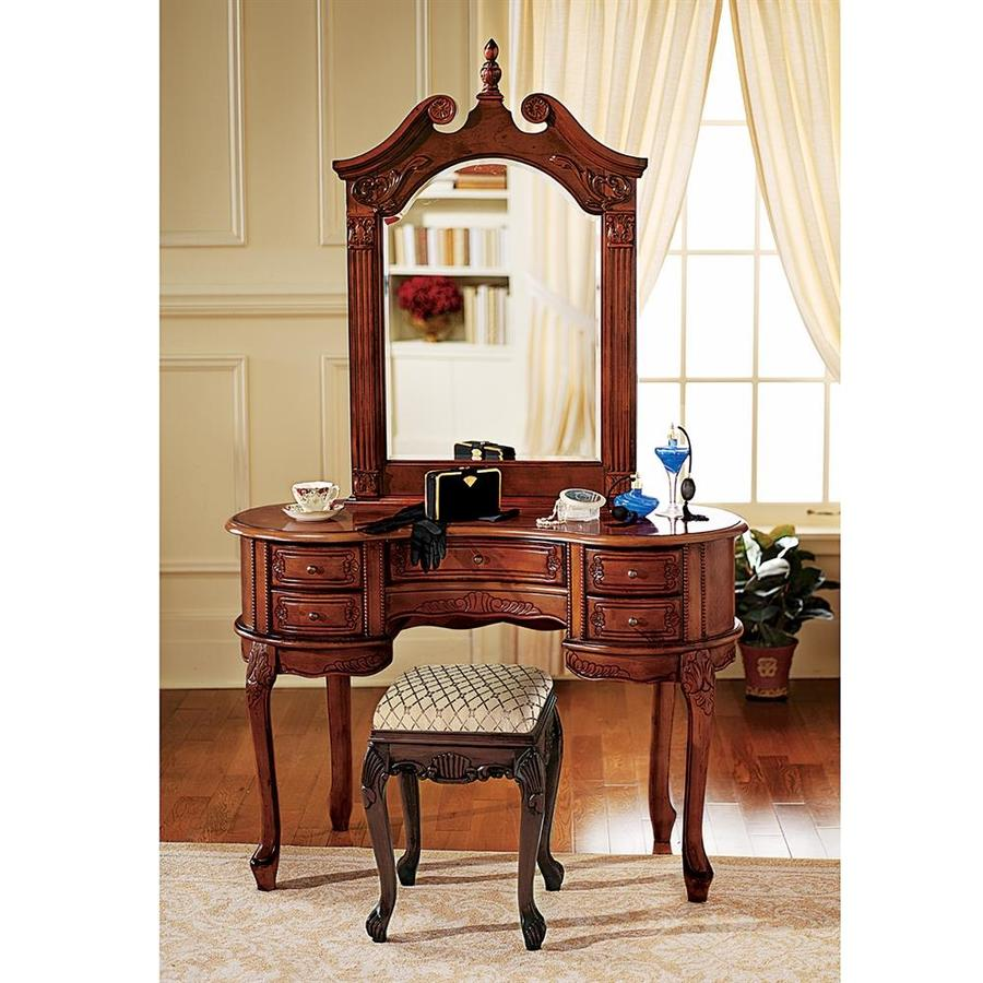 Design Toscano Queen Anne Dressing Table And Mirror Brown Makeup Vanity