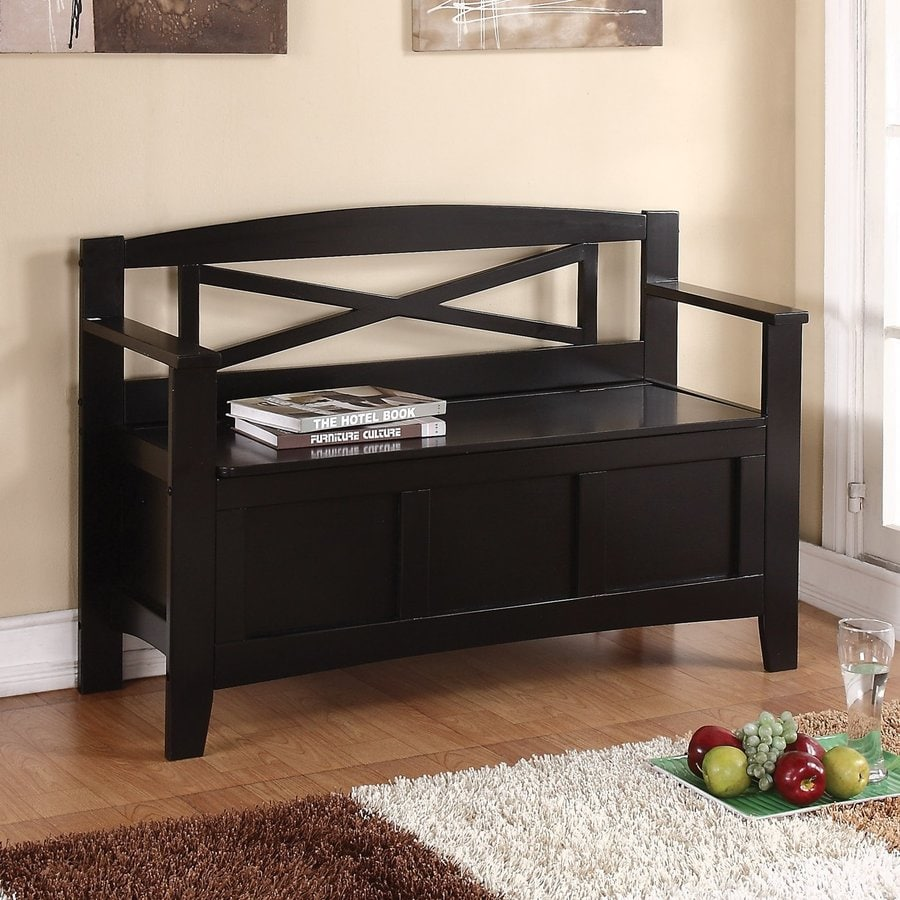 Shop Office Star Metro Transitional Black Storage Bench at Lowes.com